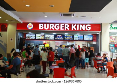 Burger King restaurant in shopping mall Istanbulbaazar . Turkey, Hopa, September 2017