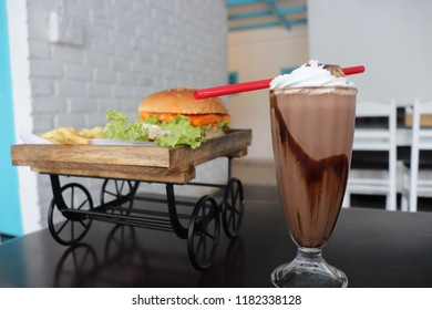 burger and a kitkat drink