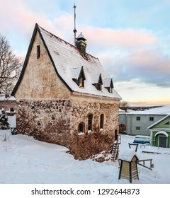 Burger manor complex of ancient buildings in the center of Vyborg, a medieval monument of architecture. winter