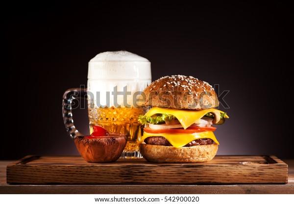 Burger and mug beer