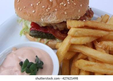 Burger on clean background.
