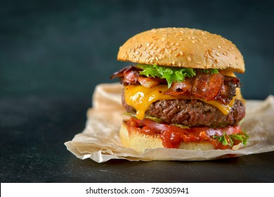 Burger on a dark background
