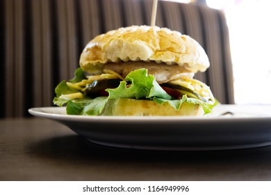 Burger on plate in cafe