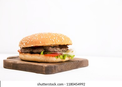 Burger on white background, cheeseburger
