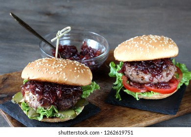 burger with onion marmalade. copy space. place for text.
