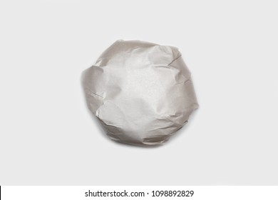 Burger, packed on a white background. Wrapped paper. Hamburger