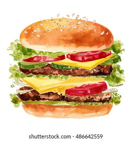 Burger painted with watercolors on white background. Sketch a simple meal. Fast food. Bun, chicken, vegetables