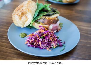 Burger with Portobello mushroom, sweet potato, cabbage slaw