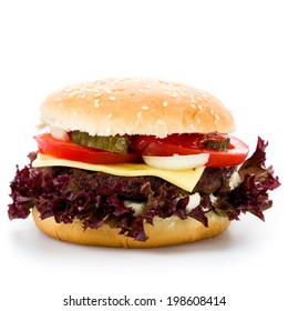 burger with tomato onion and pickled gherkins