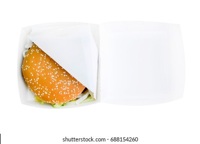 Burger in a white box on a white background isolation