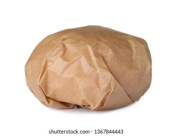Burger wrapped in craft paper isolated on white