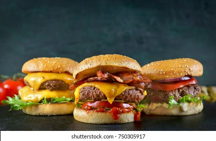 Burgers on a dark background