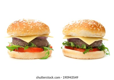 Burgers over a white background