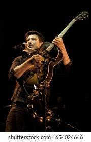 BURGETTSTOWN, PA May 24, 2017 - Marcus Mumford of Mumford & Sons performing Wednesday, May 24 at Key Bank Pavilion.