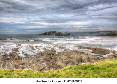 Burgh Island near Bigbury Devon with rocks and sea in HDR