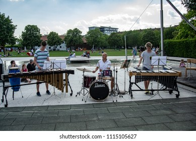 Burghausen,Germany-June 16,2018 :  music school's public percussion concert in a park