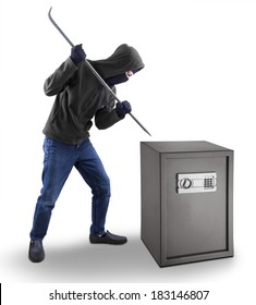 Burglar with a crowbar is trying to open a safety box isolated over white