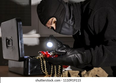 Burglar finds jewelry and valuables at burglary and theft in private rooms