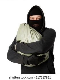 Burglar is holding large bag