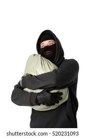Burglar hugging bag of money