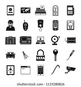 Burglar robber mugger plunderer icons set. Simple illustration of 25 burglar robber mugger plunderer icons for web