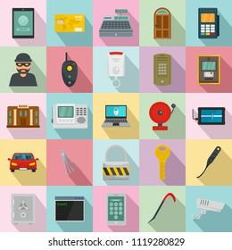 Burglar robber mugger plunderer icons set. Flat illustration of 25 burglar robber mugger plunderer icons for web
