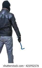Burglar or thief from behind holds crowbar in hand. Rear view. Isolated on white background.