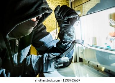 a burglar tries to break into a house