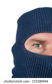 A burglar wearing a blue ski mask to hide his identity. Isolated on white for user convenience.