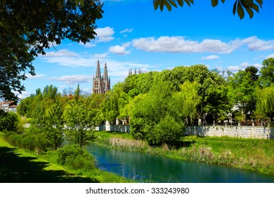 Burgos Arlanzon river and Cathedral in Castilla Leon of Spain