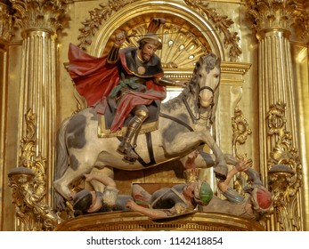 "Burgos, Castile and Leon, Spain - September 13, 2014: St James as ""Matamoros"", slayer of the Moors, in the Cathedral of Saint Mary"
