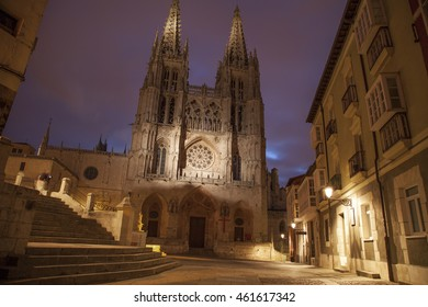 Burgos, Castilla Leon, Spain, July 13, 2016: Burgos gothic cathedral at night. July 13, 2016 in Burgos, Spain