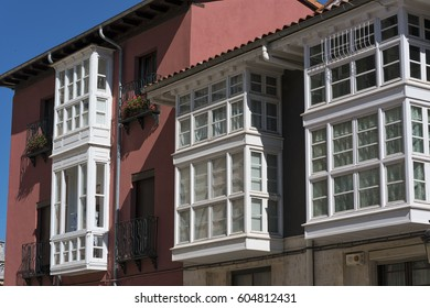 Burgos (Castilla y Leon, Spain): facade of historic buildings with balconies and verandas