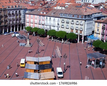BURGOS, CASTILLA Y LEÓN, Spain; June 26, 2017: aerial view of the main square, assembly of the booths for the patron saint festivities.