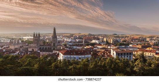 Burgos Cathedral and city panorama at sunrise. Burgos, Castile and Leon, Spain.