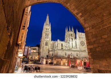 Burgos Cathedral on Plaza de San Fernando. Burgos, Castile and Leon, Spain.