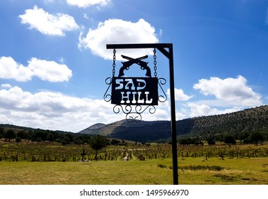 """BURGOS, SPAIN - 09 2019 : View of the Sad Hill cemetery. Here, it was filmed the movie """"The Good, the bad and the ugly"""" in 1966."""