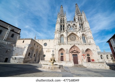 BURGOS, SPAIN - 31 AUGUST, 2016: Construction on Burgos' Gothic Cathedral began in 1221 and spanned mainly from the 13th to 15th centuries. It has been declared a UNESCO World Heritage Site.