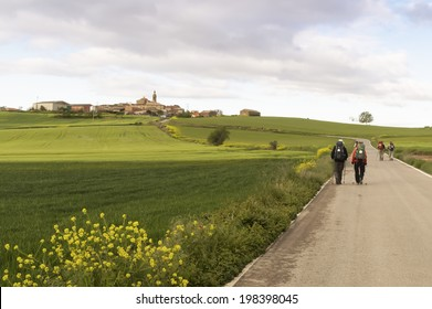 BURGOS, SPAIN - APRIL 25 : Pilgrim on the road to Santiago de Compostela, Burgos in April 25, 2014