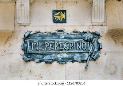 Burgos, Spain - June 13, 2018: Camino de Santiago Way of St. James Shell representing the pilgrim's path, Burgos, Spain. El Pelegrino means The Pilgrim