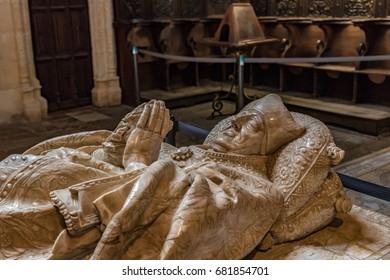 BURGOS, SPAIN - JUNE 21, 2016: Interiors of the Burgos Cathedral in Spain. The Burgos Cathedral is a UNESCO World Heritage Site.