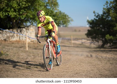 Burgos, Spain - October 12, 2017: A cyclist competes in Fresno de Rodilla II Cyclocross event in Burgos, Spain.