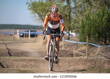 Burgos, Spain - October 12, 2017: A cyclist competes in Fresno de Rodilla II Cyclocross event in Burgos, Spain.