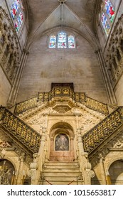 Burgos, Spain - october, 2016: architecture religion background. view of interior element of gothic Cathedral of Saint Mary of Burgos (Santa Maria de Burgos) Spain. close up of ceiling