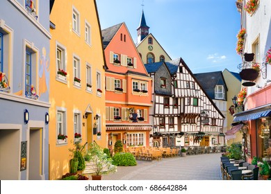 The Burgstrasse in Bernkastel-Kues, Germany. The twin town of Bernkastel-Kues is regarded as the most popular town and center of the Middle Moselle.