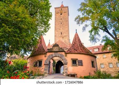 The Burgtor castle gate in Rothenburg ob der Tauber. Germany