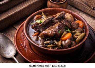 Burgundy beef - classic French cuisine.Beef Bourguignon ragou