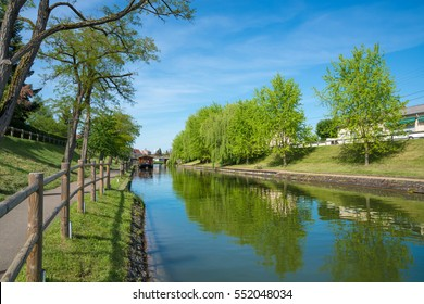 The Burgundy canal in France on a beautiful spring summer day