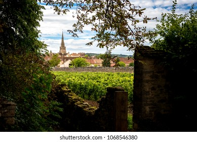 Burgundy, Meursault. View of the village from the walls of the Cha?teau de Meursault. Cote d'Or. France