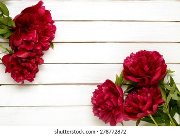 Burgundy flower images stock photos vectors shutterstock burgundy peonies on the white wooden background mightylinksfo